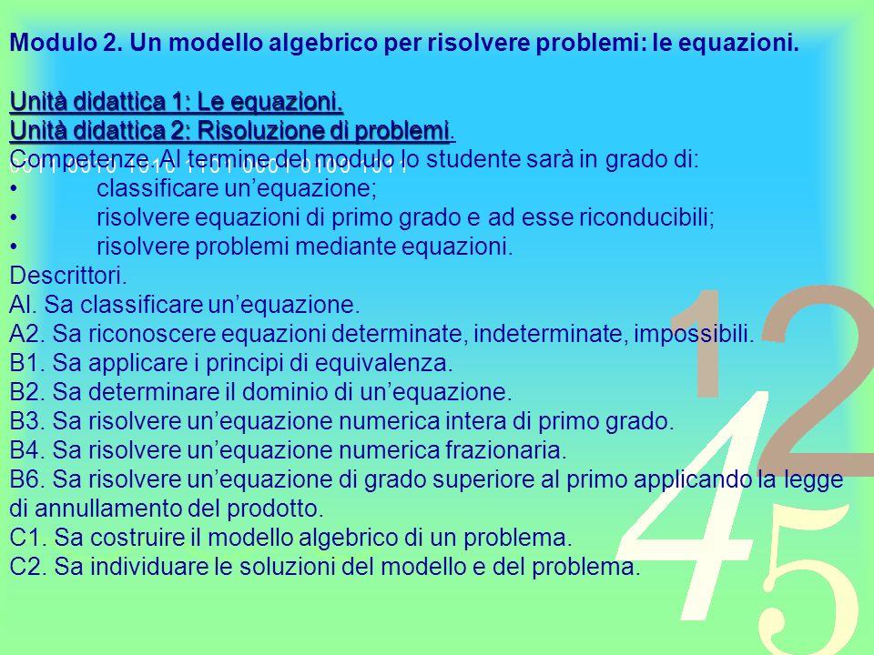 Modulo 2. Un modello algebrico per risolvere problemi: le equazioni.