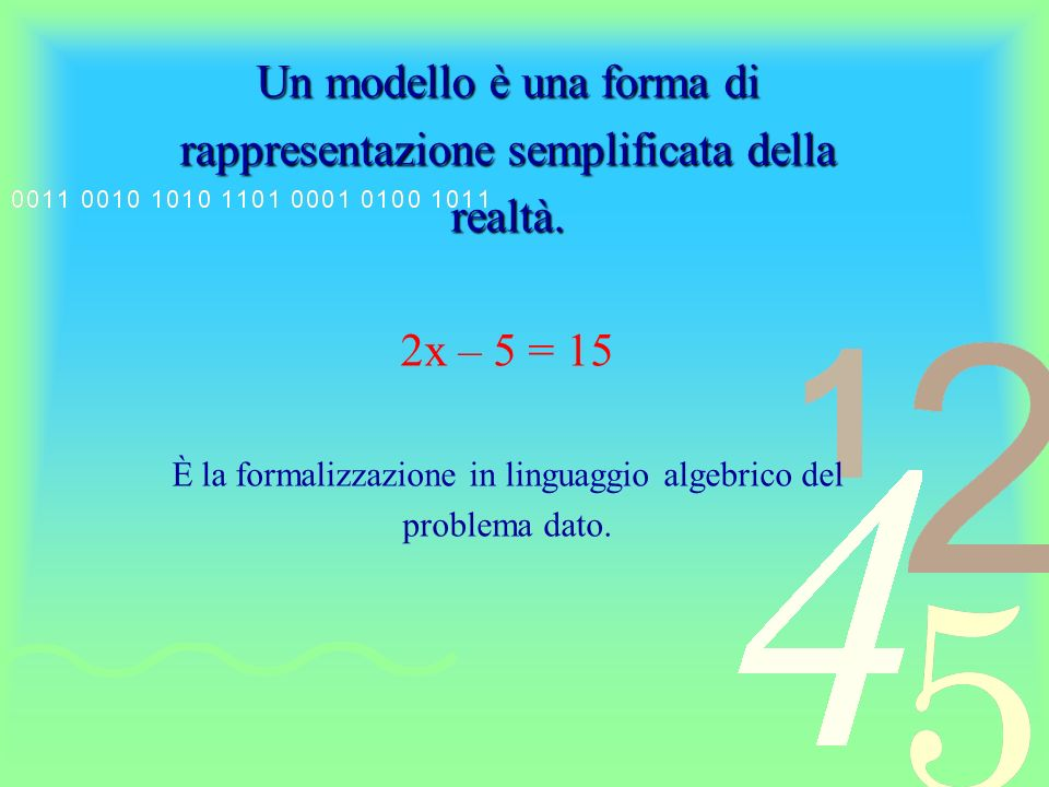 Un modello è una forma di rappresentazione semplificata della realtà.
