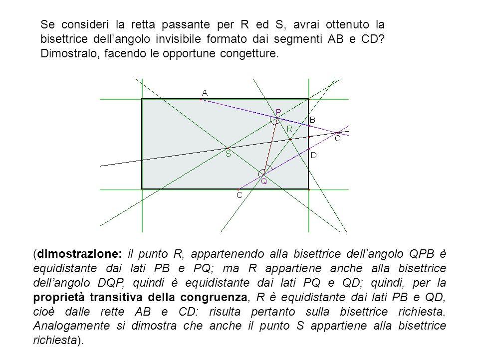 Se consideri la retta passante per R ed S, avrai ottenuto la bisettrice dell'angolo invisibile formato dai segmenti AB e CD Dimostralo, facendo le opportune congetture.