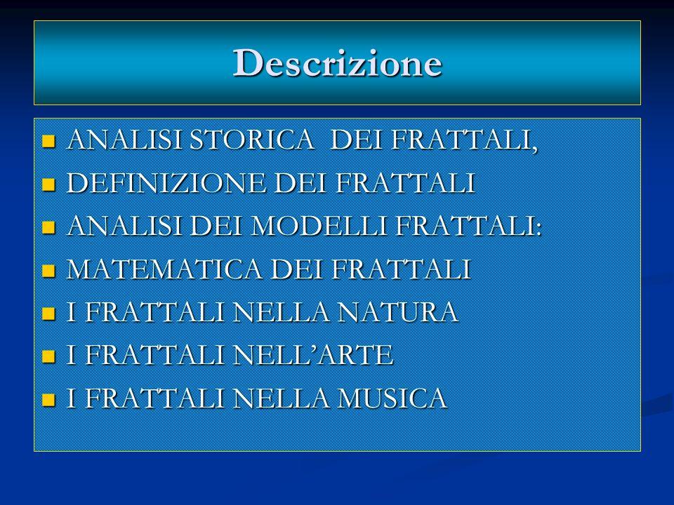 Descrizione ANALISI STORICA DEI FRATTALI, DEFINIZIONE DEI FRATTALI