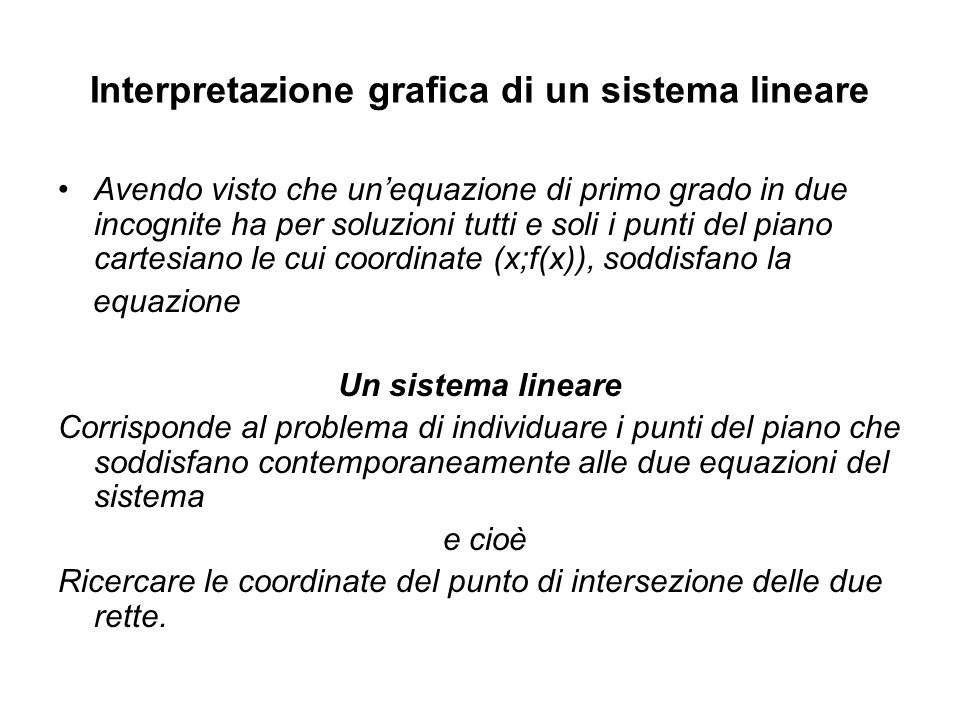 Interpretazione grafica di un sistema lineare