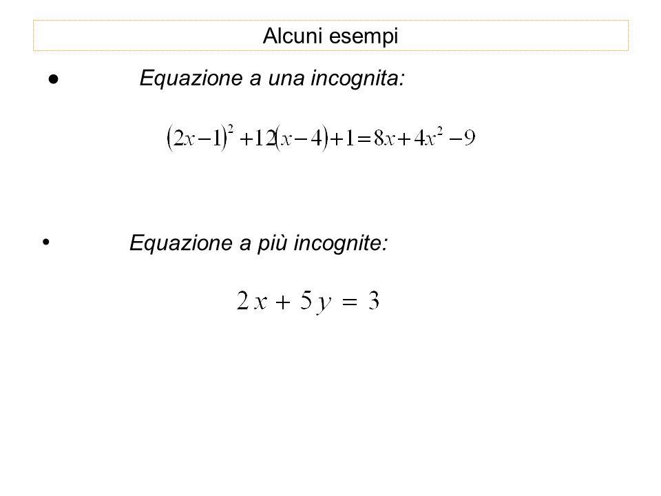 • Equazione a più incognite: