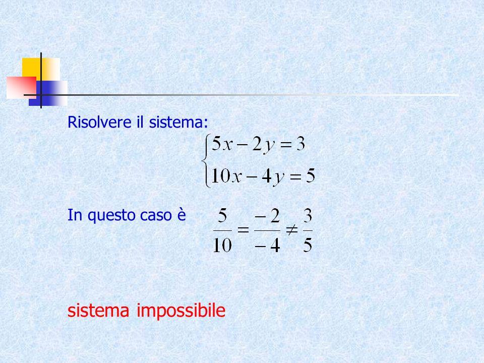 Risolvere il sistema: In questo caso è sistema impossibile