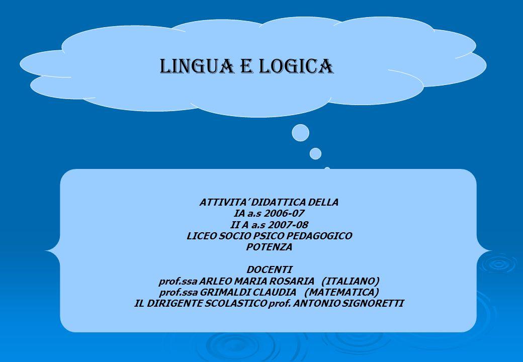LINGUA E LOGICA ATTIVITA' DIDATTICA DELLA IA a.s 2006-07