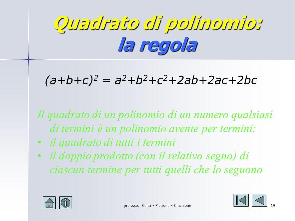 Quadrato di polinomio: la regola