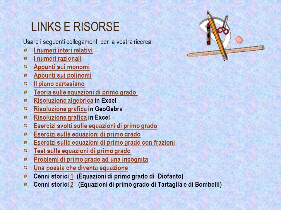 LINKS E RISORSE Usare i seguenti collegamenti per la vostra ricerca: