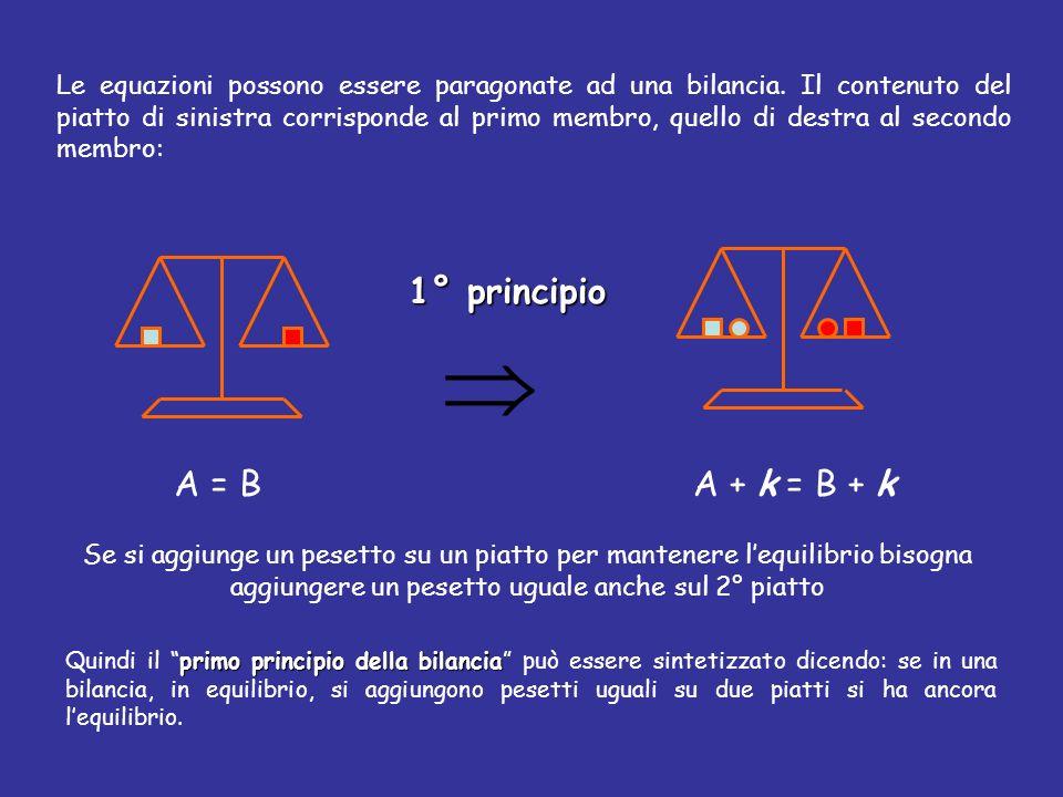  1° principio A = B A + k = B + k