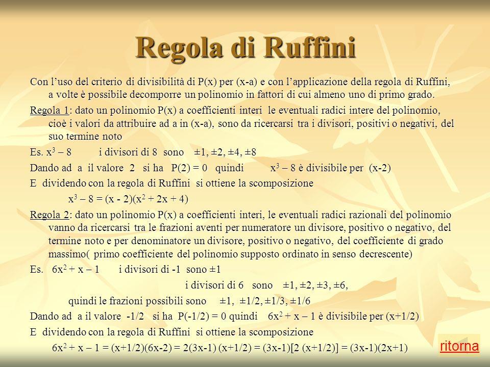 Regola di Ruffini ritorna