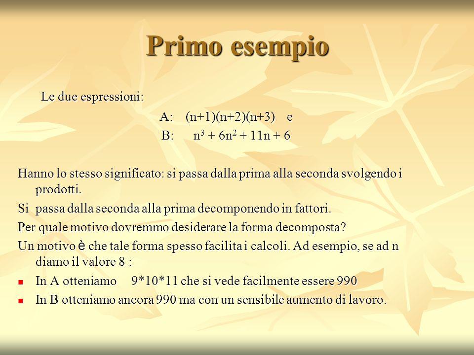 Primo esempio Le due espressioni: A: (n+1)(n+2)(n+3) e