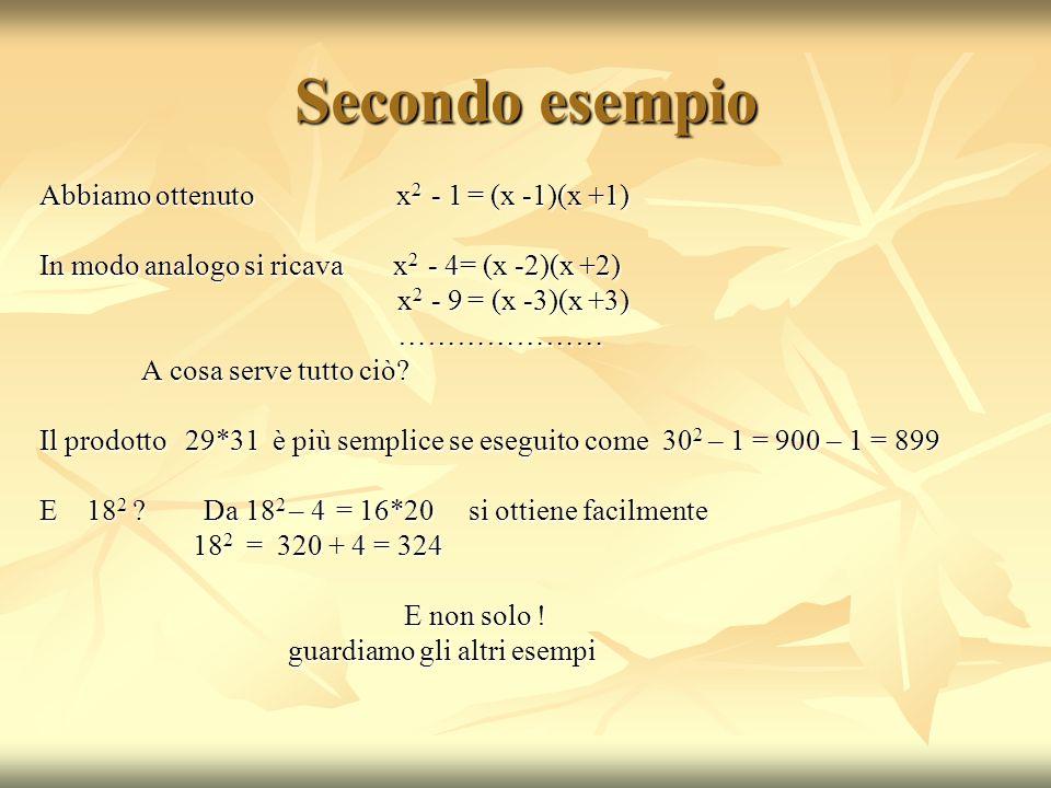 Secondo esempio Abbiamo ottenuto x2 - 1 = (x -1)(x +1)