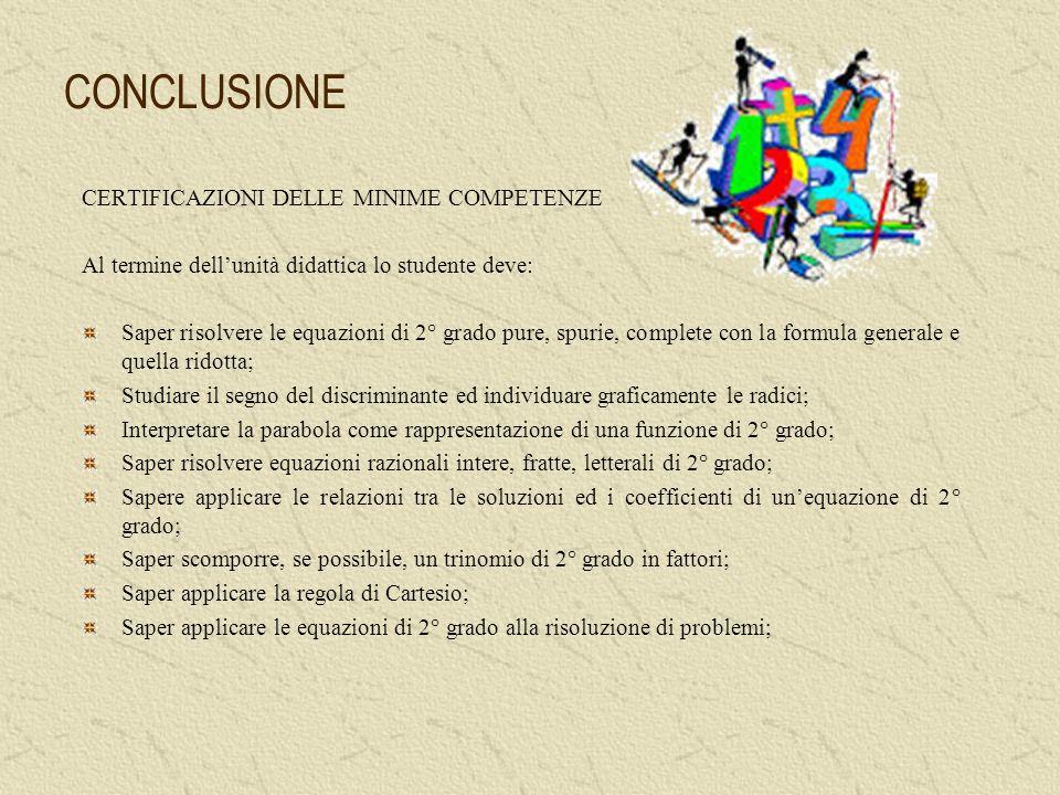 CONCLUSIONE CERTIFICAZIONI DELLE MINIME COMPETENZE