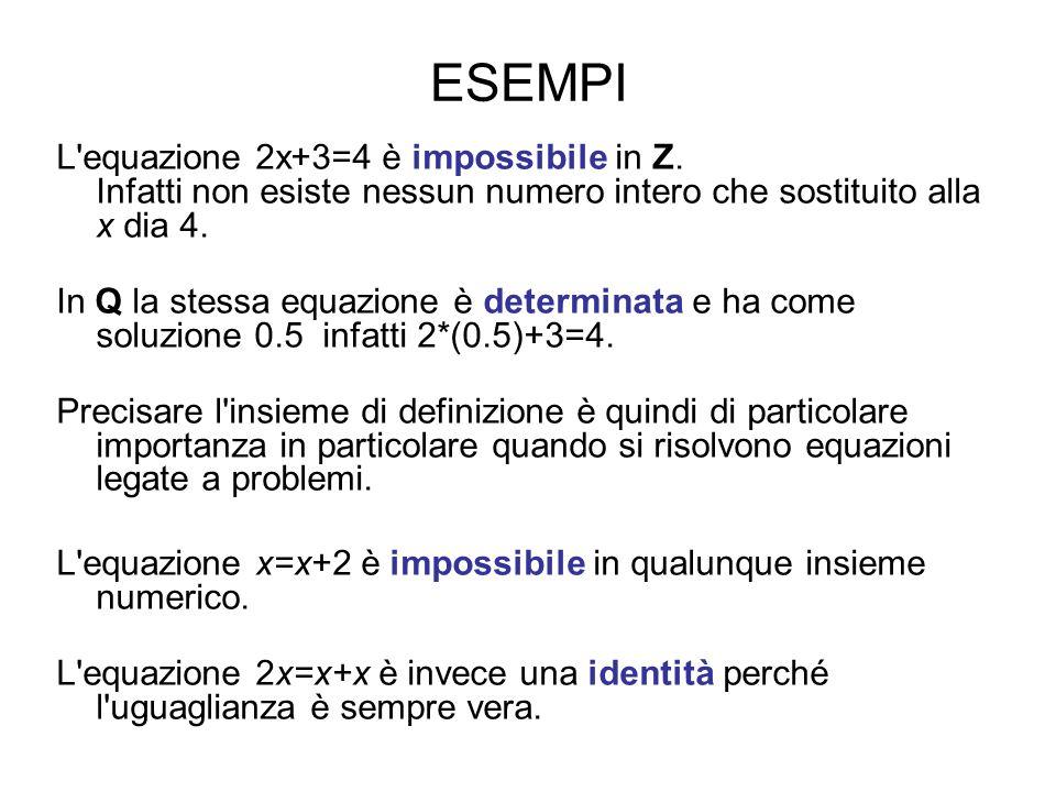 ESEMPI L equazione 2x+3=4 è impossibile in Z. Infatti non esiste nessun numero intero che sostituito alla x dia 4.