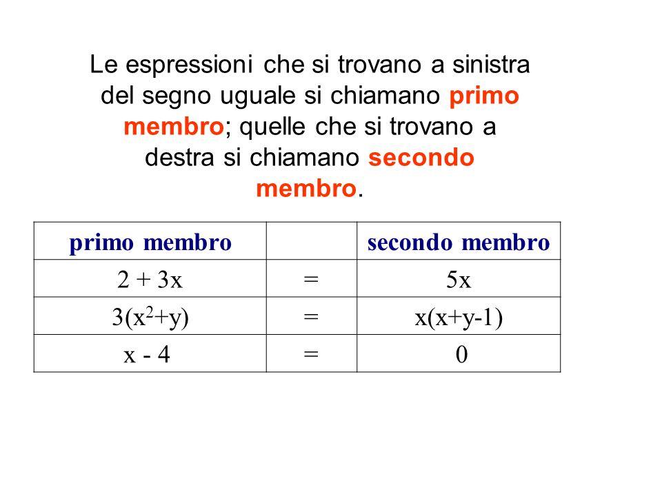 Le espressioni che si trovano a sinistra del segno uguale si chiamano primo membro; quelle che si trovano a destra si chiamano secondo membro.