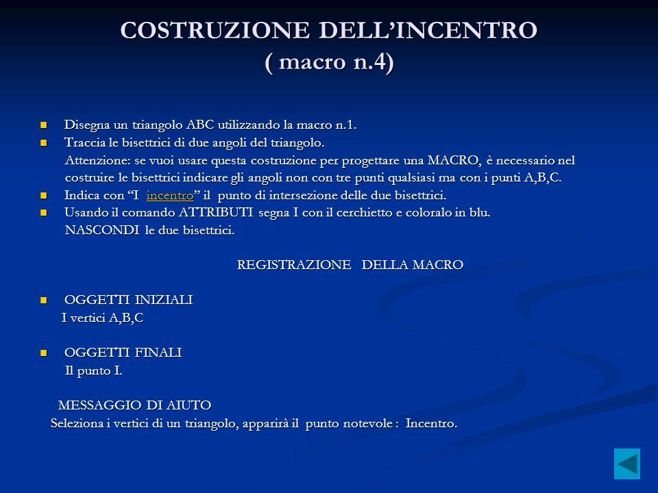 COSTRUZIONE DELL'INCENTRO ( macro n.4)