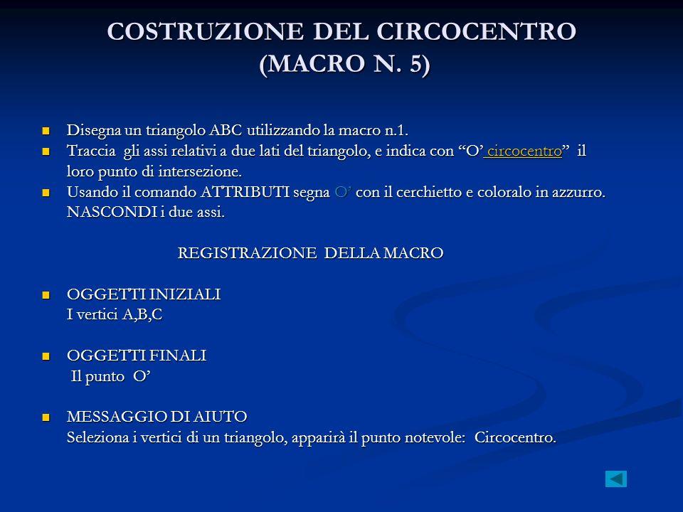COSTRUZIONE DEL CIRCOCENTRO (MACRO N. 5)