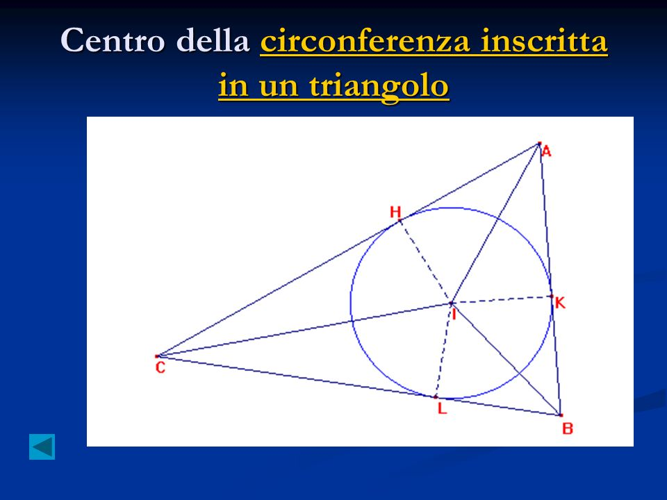 Centro della circonferenza inscritta in un triangolo