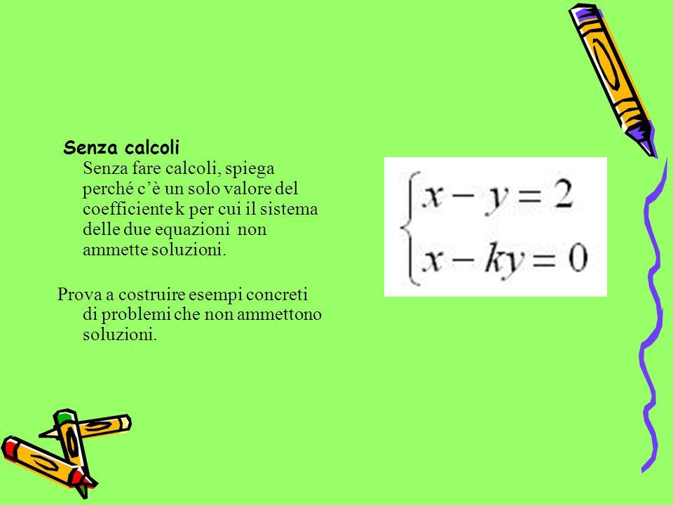 Senza calcoli Senza fare calcoli, spiega perché c'è un solo valore del coefficiente k per cui il sistema delle due equazioni non ammette soluzioni.