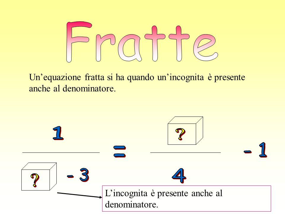Fratte Un'equazione fratta si ha quando un'incognita è presente anche al denominatore. 1. - 3.