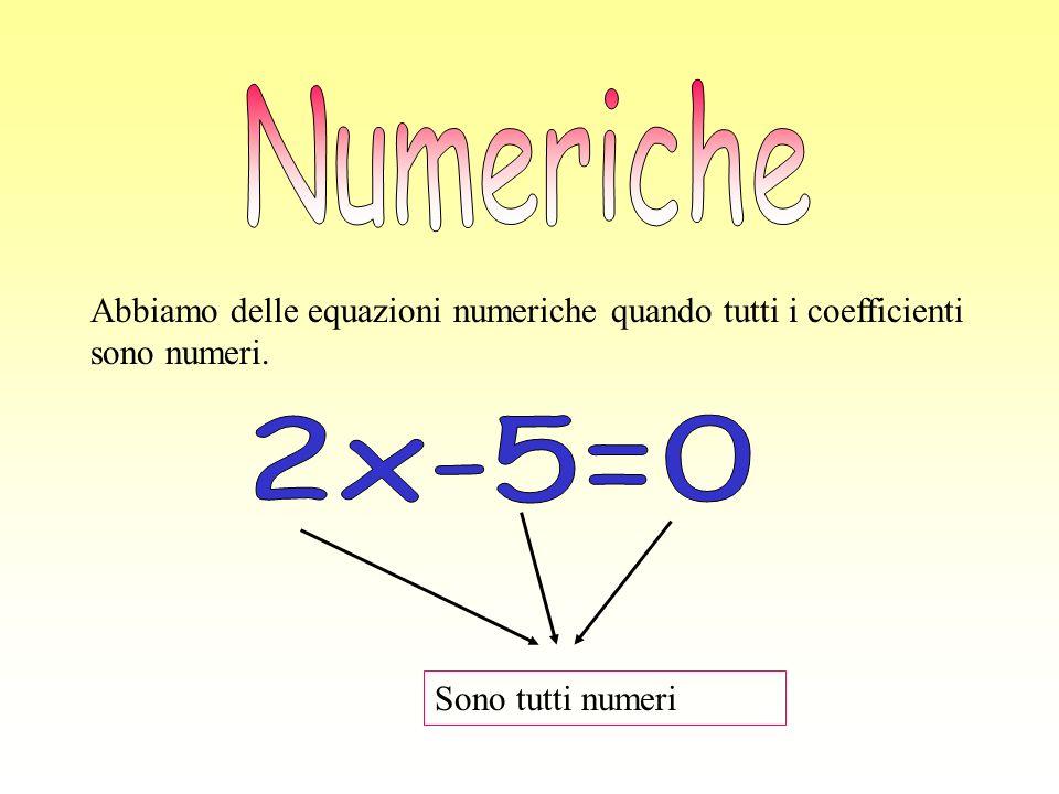 Numeriche Abbiamo delle equazioni numeriche quando tutti i coefficienti sono numeri.