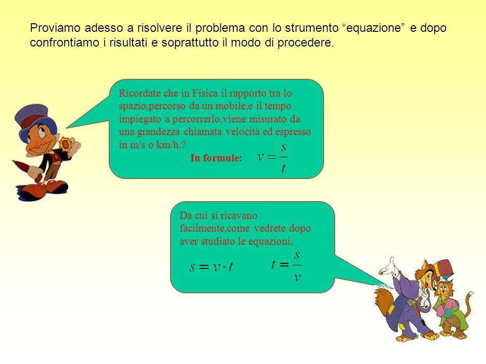 Proviamo adesso a risolvere il problema con lo strumento equazione e dopo confrontiamo i risultati e soprattutto il modo di procedere.