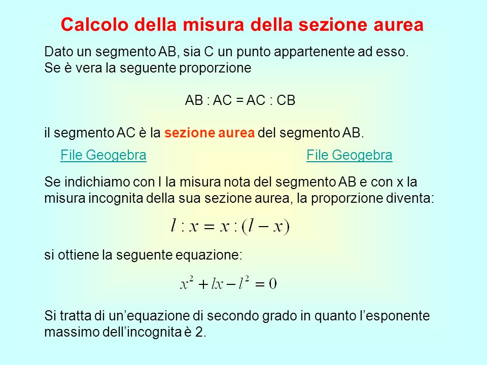 Calcolo della misura della sezione aurea