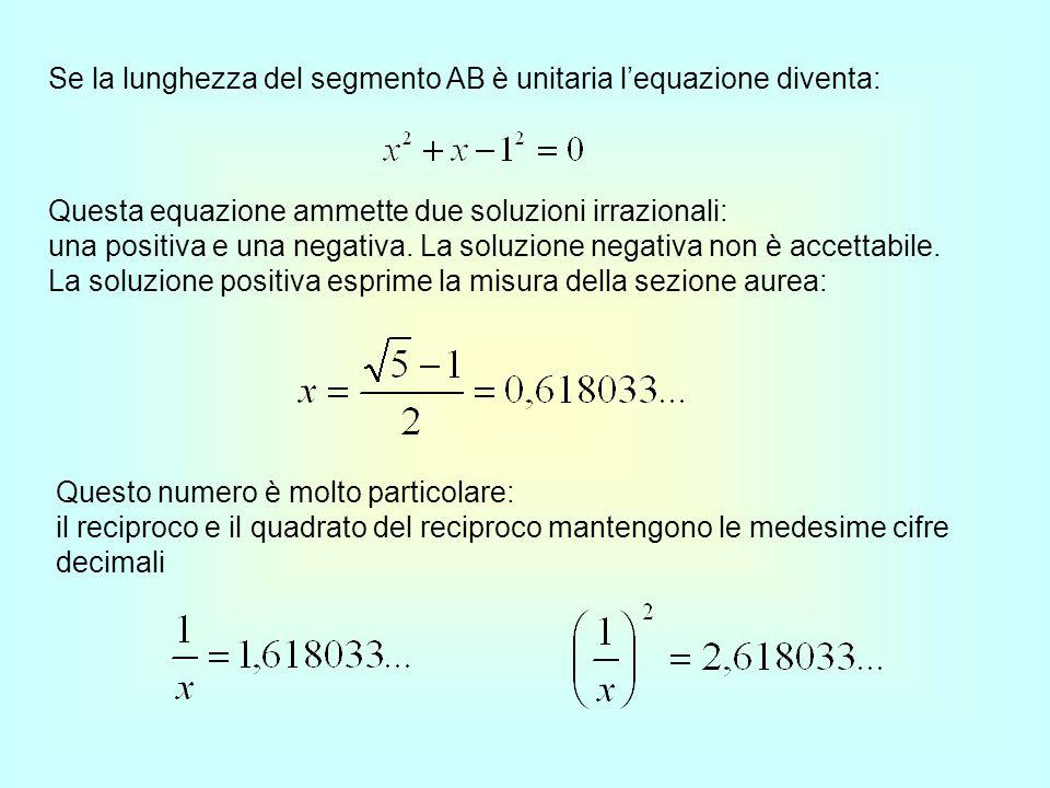 Se la lunghezza del segmento AB è unitaria l'equazione diventa: