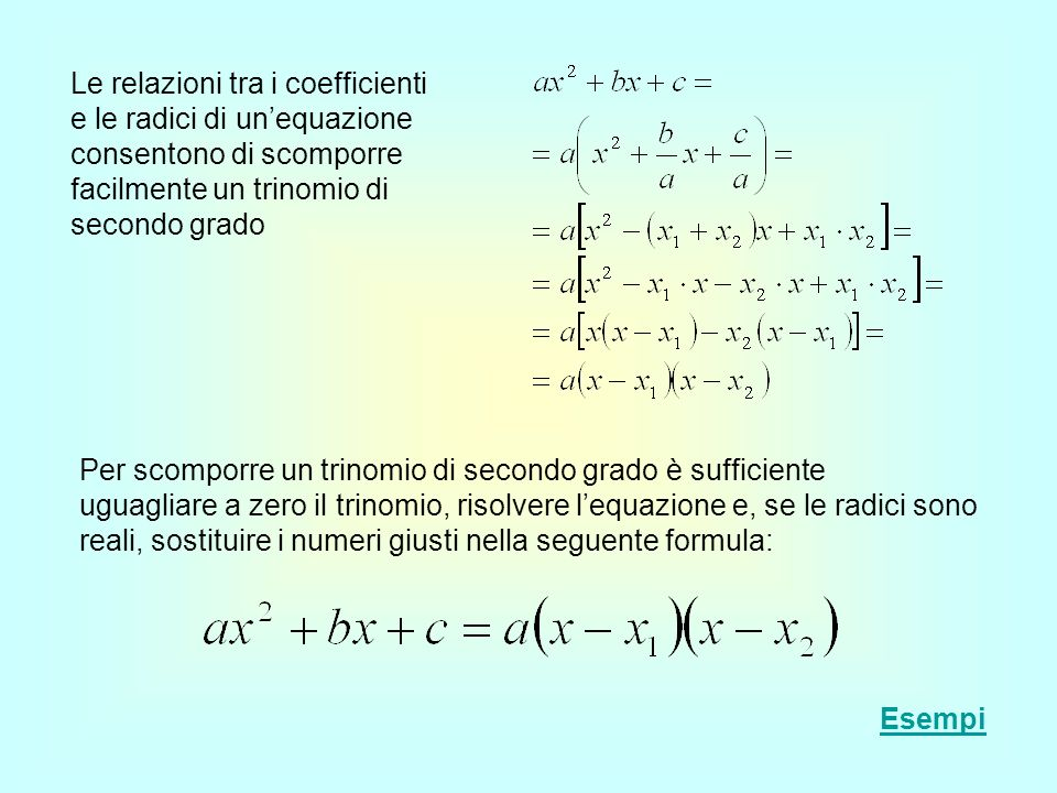 Le relazioni tra i coefficienti