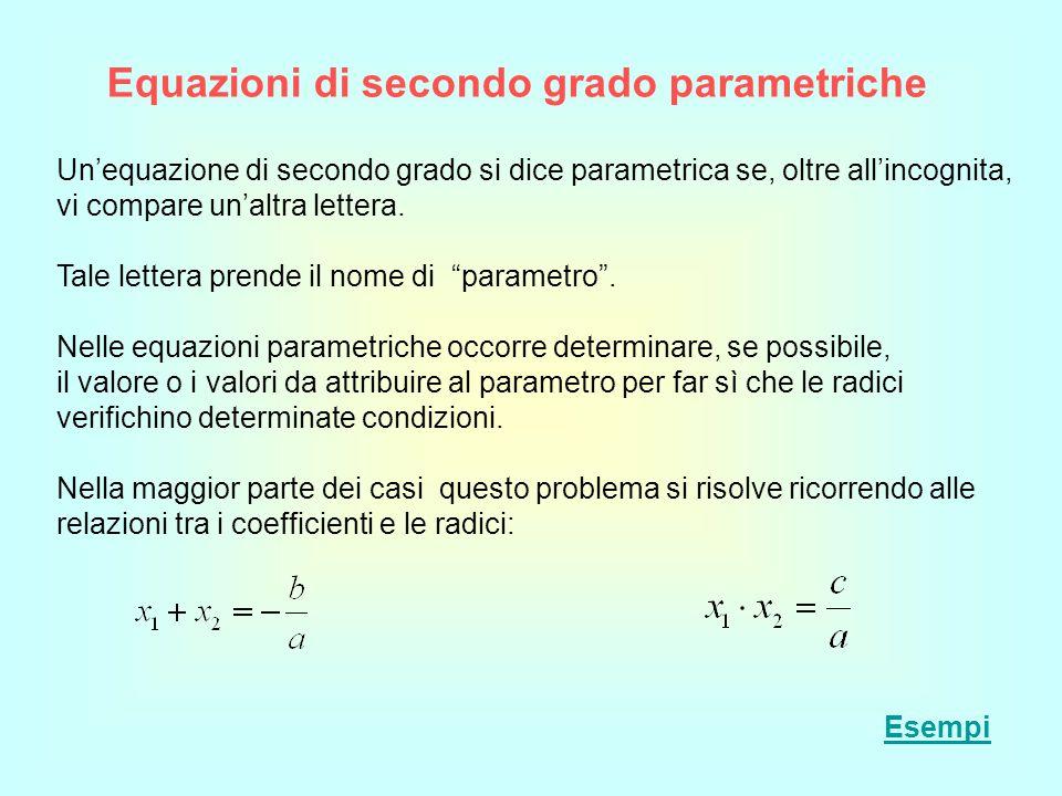 Equazioni di secondo grado parametriche