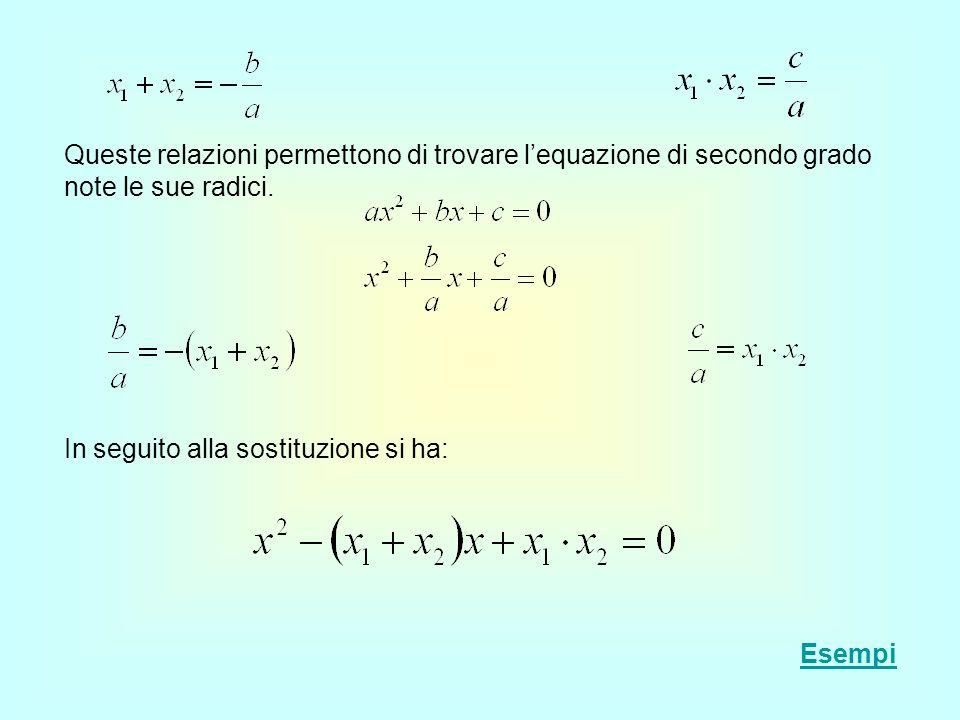 Queste relazioni permettono di trovare l'equazione di secondo grado