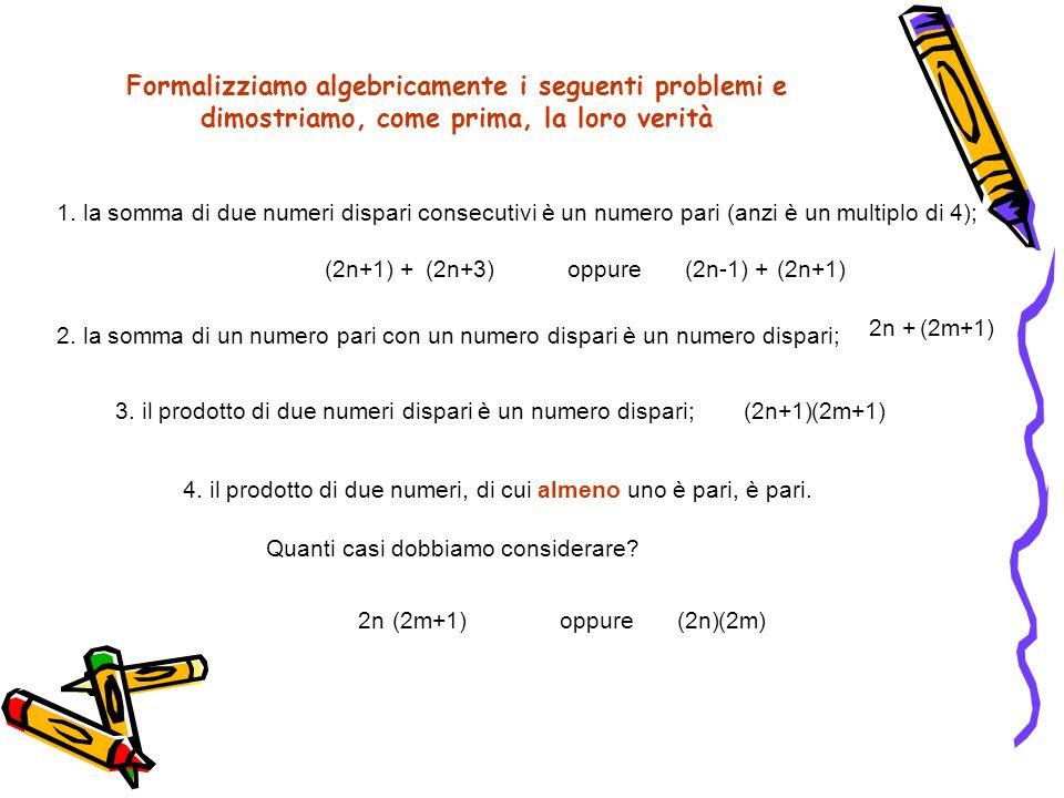 Formalizziamo algebricamente i seguenti problemi e