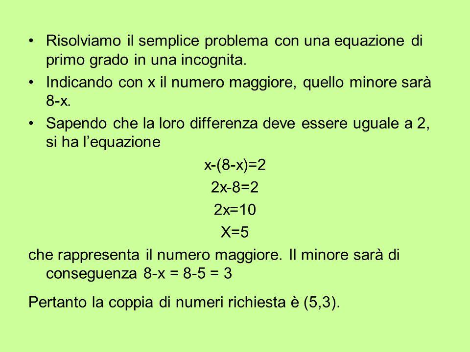 Risolviamo il semplice problema con una equazione di primo grado in una incognita.