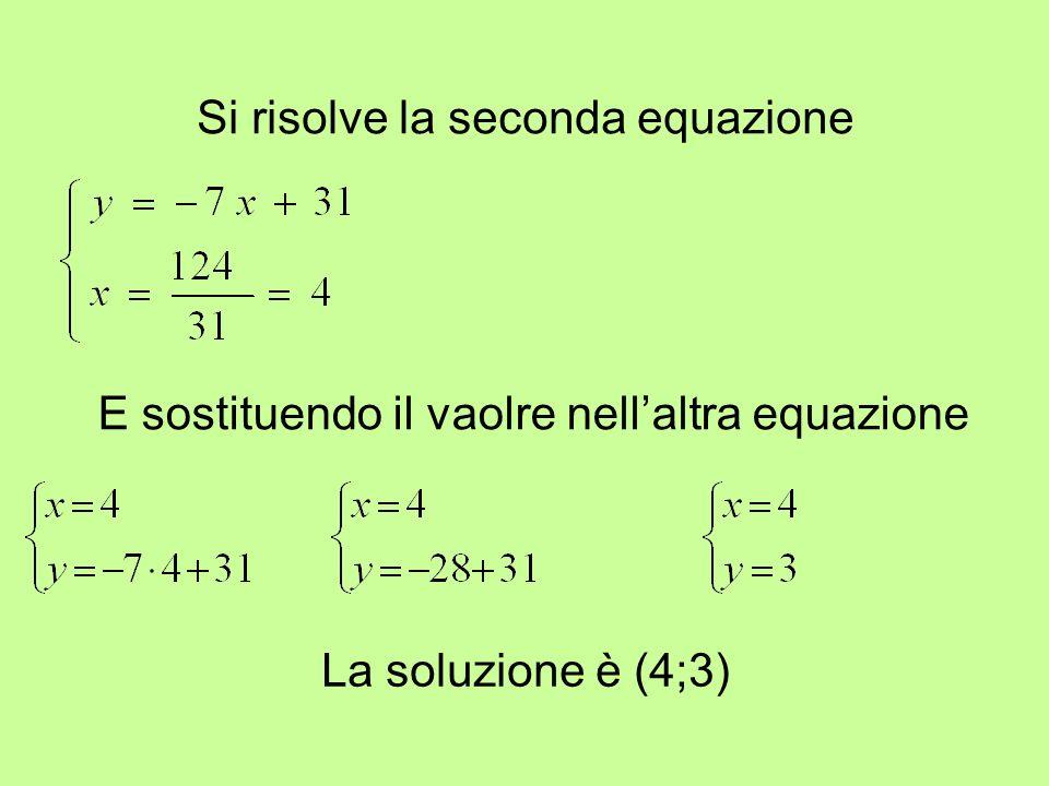 Si risolve la seconda equazione