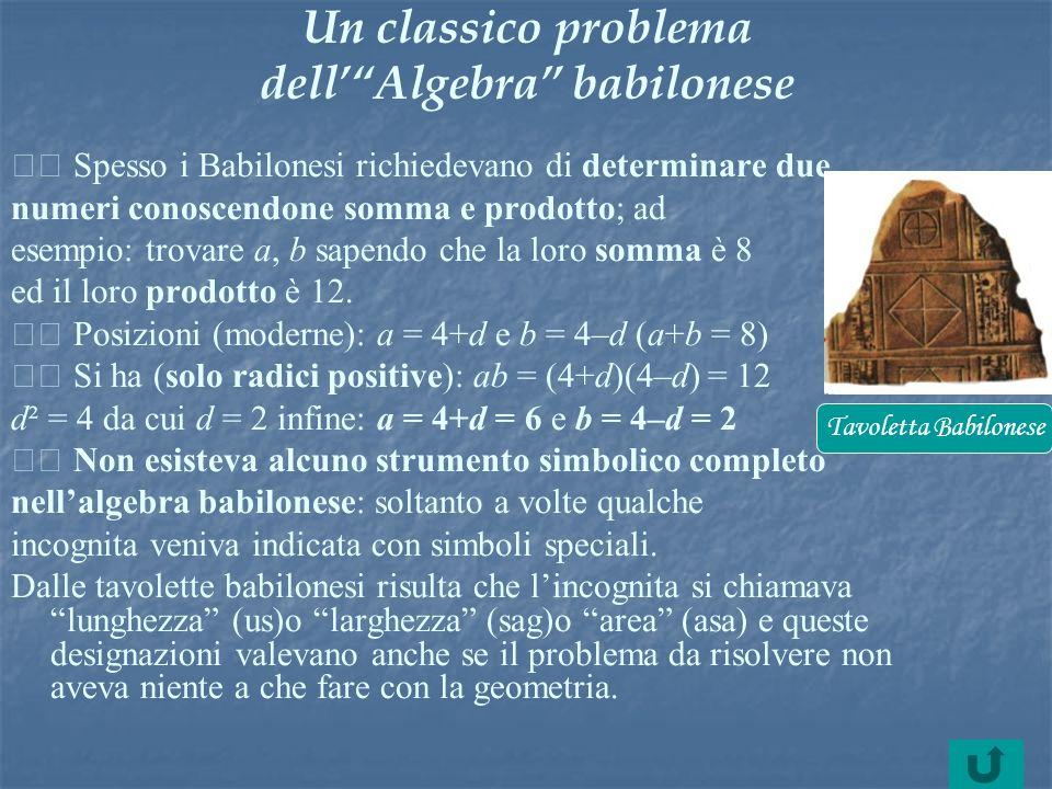 Un classico problema dell' Algebra babilonese