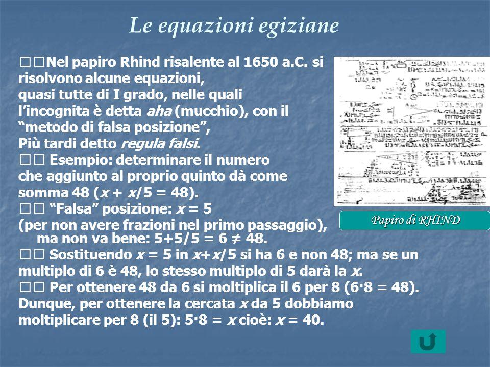 Le equazioni egiziane Nel papiro Rhind risalente al 1650 a.C. si