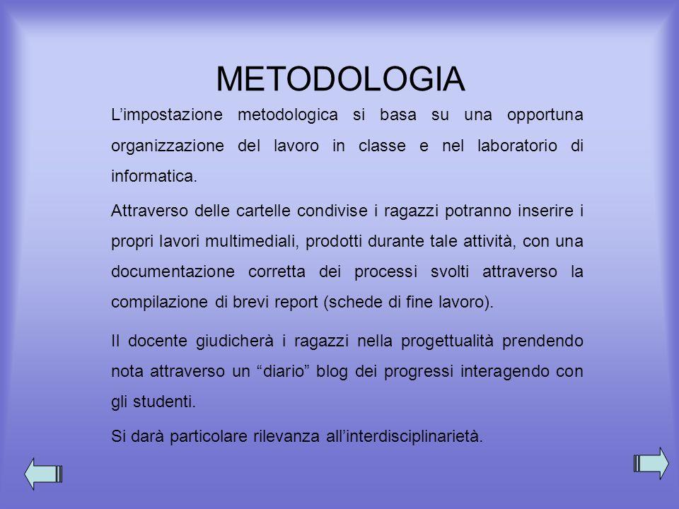 METODOLOGIA L'impostazione metodologica si basa su una opportuna organizzazione del lavoro in classe e nel laboratorio di informatica.