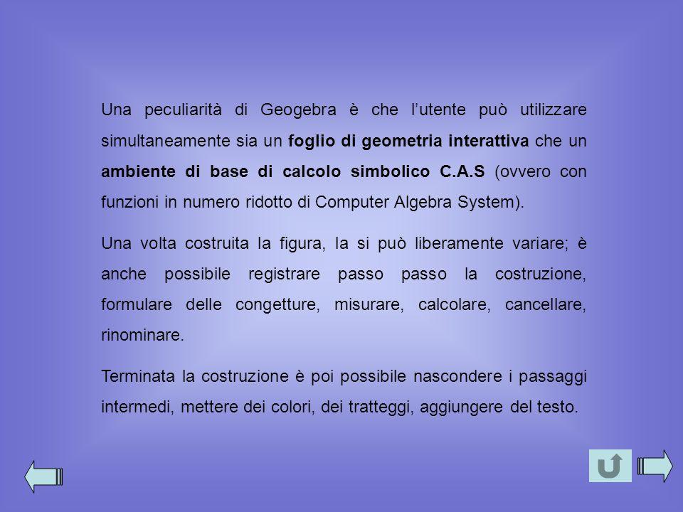 Una peculiarità di Geogebra è che l'utente può utilizzare simultaneamente sia un foglio di geometria interattiva che un ambiente di base di calcolo simbolico C.A.S (ovvero con funzioni in numero ridotto di Computer Algebra System).