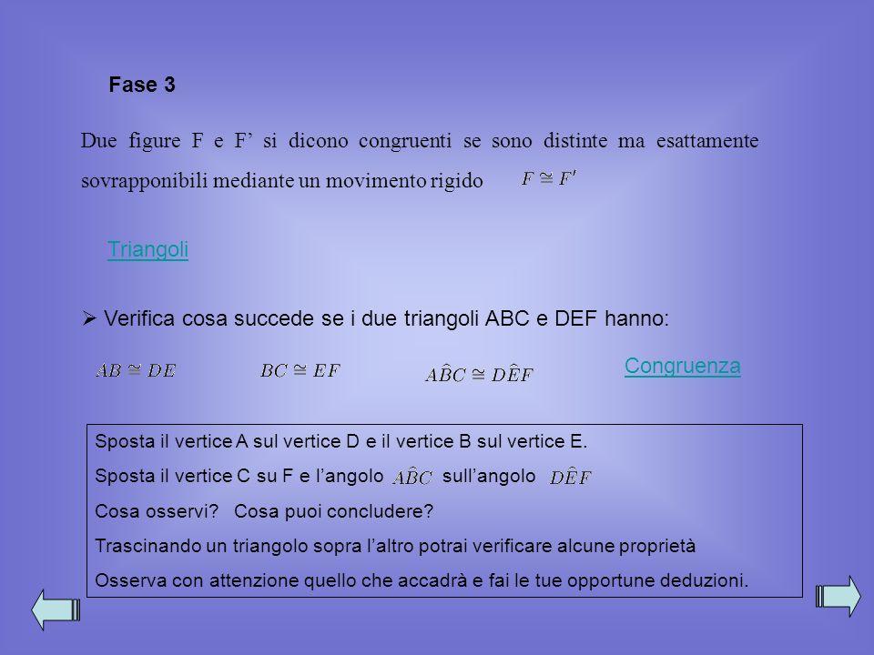 Verifica cosa succede se i due triangoli ABC e DEF hanno: