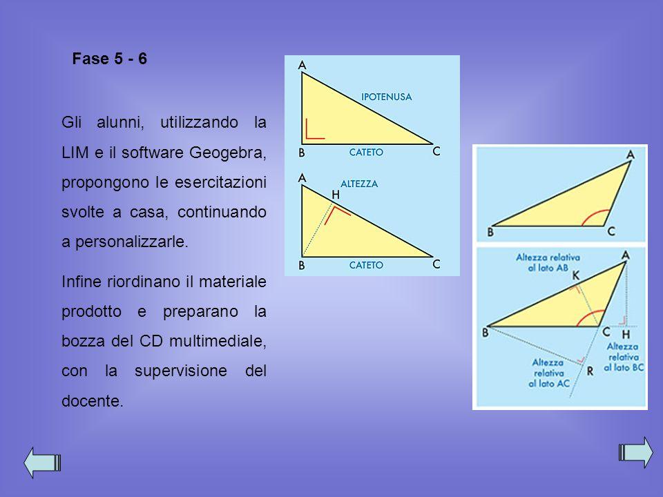 Fase 5 - 6 Gli alunni, utilizzando la LIM e il software Geogebra, propongono le esercitazioni svolte a casa, continuando a personalizzarle.