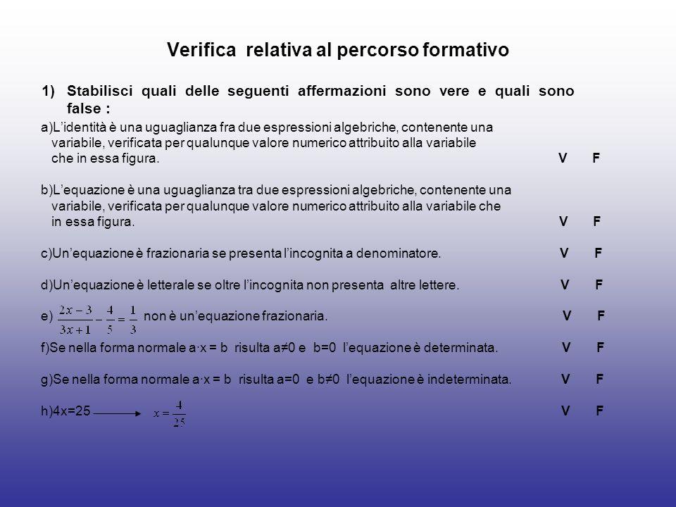 Verifica relativa al percorso formativo