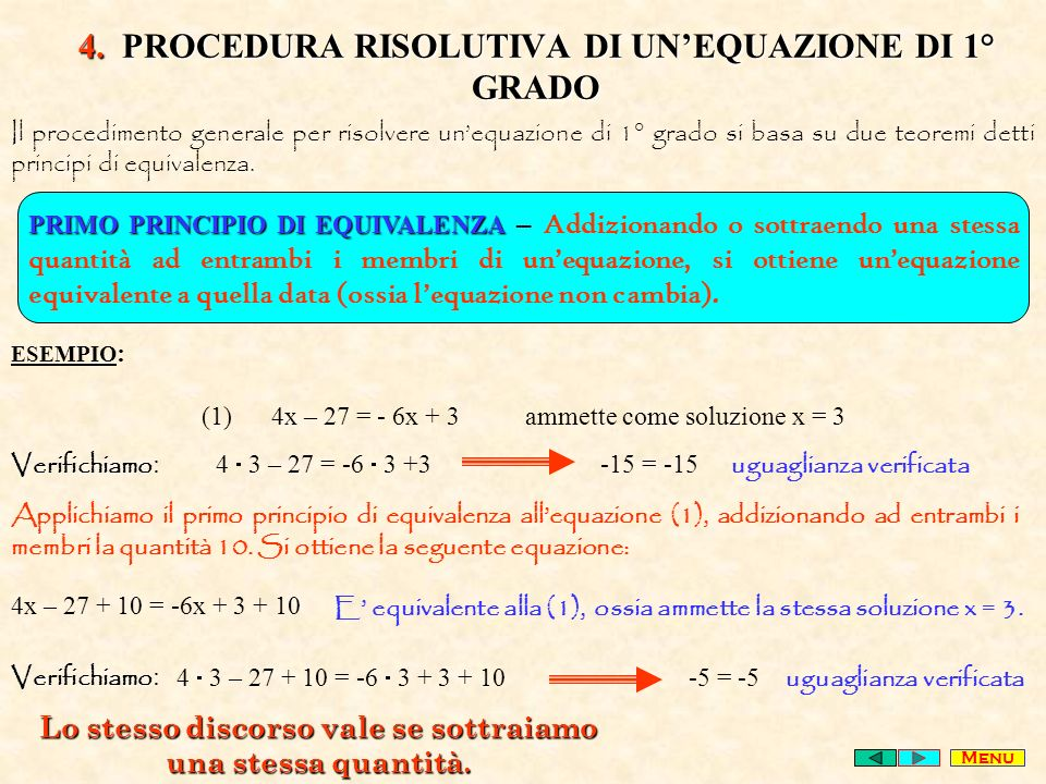 4. PROCEDURA RISOLUTIVA DI UN'EQUAZIONE DI 1° GRADO