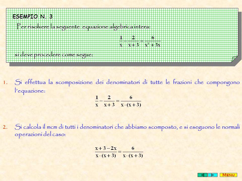 Per risolvere la seguente equazione algebrica intera: