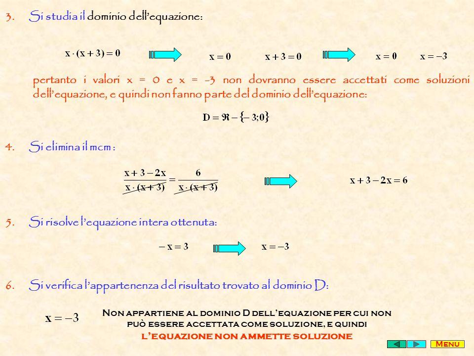 Si studia il dominio dell'equazione: