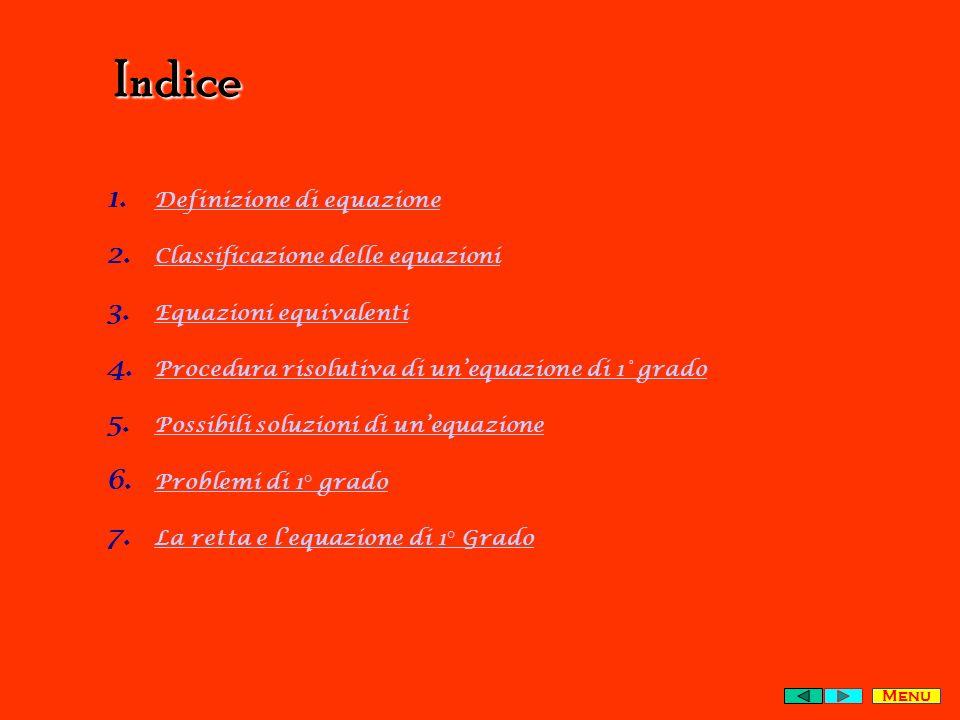 Indice Definizione di equazione Classificazione delle equazioni