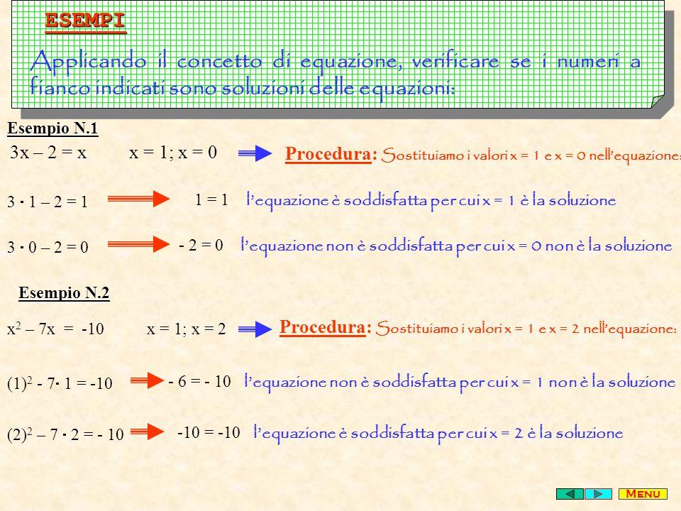 ESEMPI Applicando il concetto di equazione, verificare se i numeri a fianco indicati sono soluzioni delle equazioni: