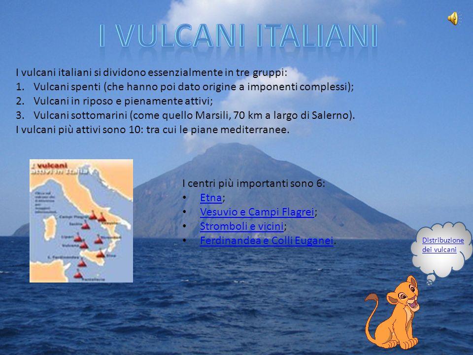 I vulcani italiani I vulcani italiani si dividono essenzialmente in tre gruppi: Vulcani spenti (che hanno poi dato origine a imponenti complessi);