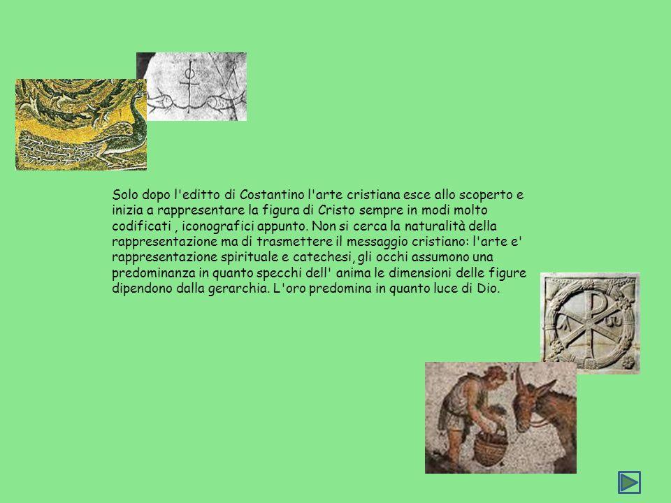 Solo dopo l editto di Costantino l arte cristiana esce allo scoperto e inizia a rappresentare la figura di Cristo sempre in modi molto codificati , iconografici appunto.