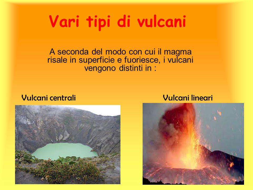 Vari tipi di vulcani A seconda del modo con cui il magma risale in superficie e fuoriesce, i vulcani vengono distinti in :