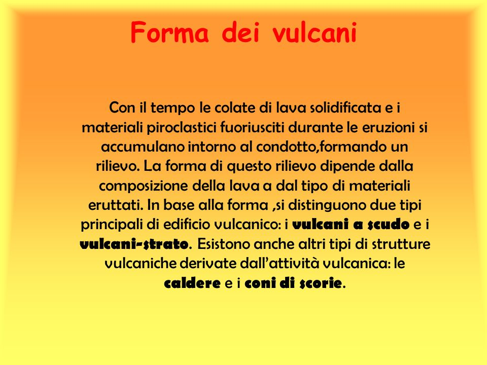 Forma dei vulcani
