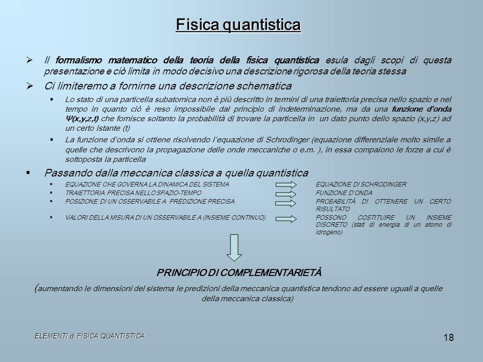 Fisica quantistica Ci limiteremo a fornirne una descrizione schematica
