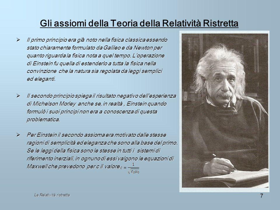 Gli assiomi della Teoria della Relatività Ristretta